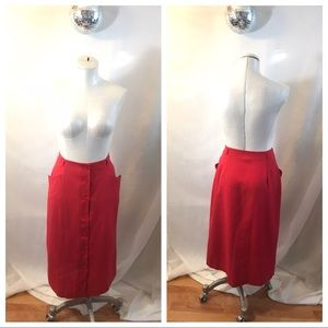 Vintage Korey Button Up High Waist Skirt Pockets